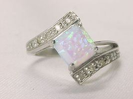 MYSTIC OPAL and 10 Diamond Accents RING in STERLING Silver - Size 6 3/4 - $95.00