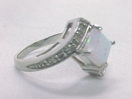 MYSTIC OPAL and 10 Diamond Accents RING in STERLING Silver - Size 6 3/4 image 2