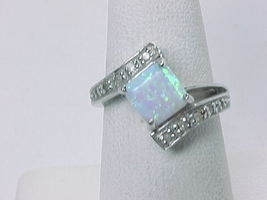 MYSTIC OPAL and 10 Diamond Accents RING in STERLING Silver - Size 6 3/4 image 3