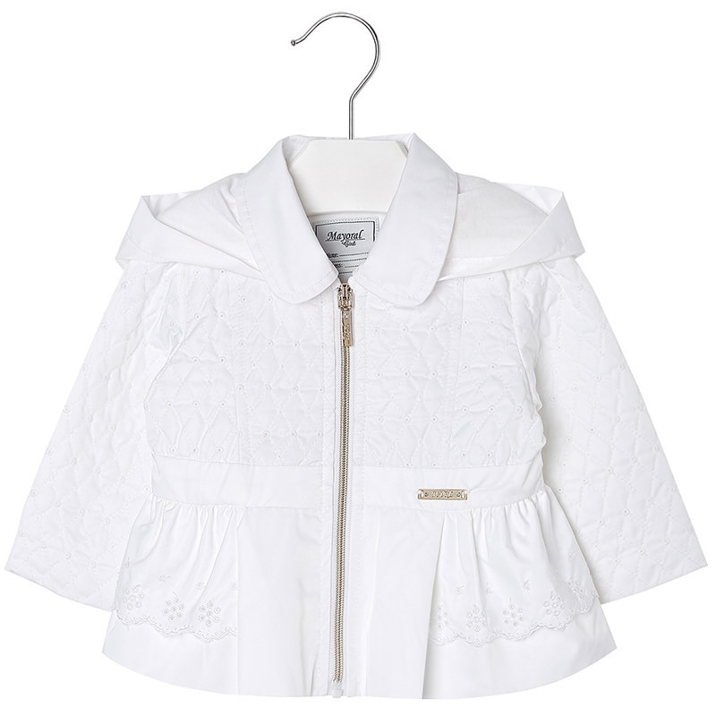 Mayoral Baby Girls Embroidered Windbreaker Jacket With Removable Hood
