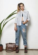 70s vintage sheer polka dot tie collar open front blouse - $31.08