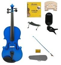 3/4 Size Blue Violin,Case,Blue Bow+Rosin+Strings+2 Bridges+Tuner+Shoulder Rest - $59.99