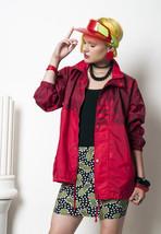 Red windbreaker 90s vintage rain jacket - $59.94