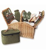 English Style Willow Service for Two Picnic Basket - $210.62