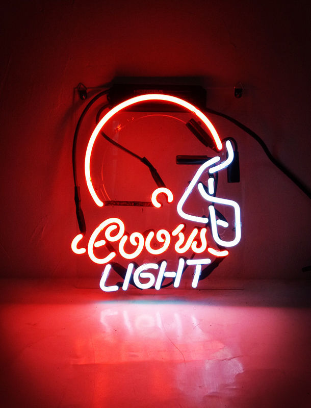 TN133 Coors Light Helmet Football Bud Gift Poster Real Neon Light Sign 10x8