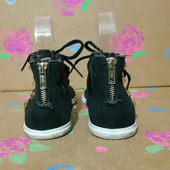 Converse Black/Gold Studded Thong Sandals 6