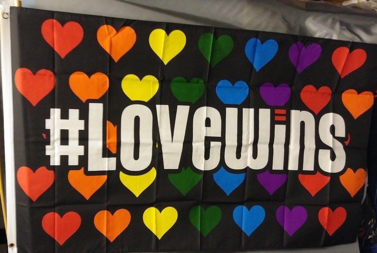 # Love Wins 3X5' Flag NEW Rainbow Pride NIP