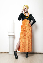 90s vintage pumpkin Halloween velvet dress - $37.74