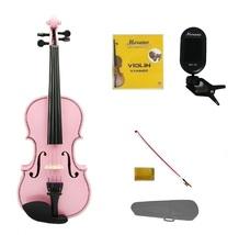 3/4 Size Pink Violin,Case,Pink Stick Bow+Rosin+2 Sets Strings+Clip On Tuner - $52.00