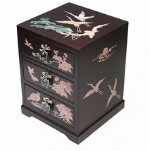 Mother of Pearl Jewelry Box Black Jewel Organizer 3 Drawers Flower &Cran... - €67,35 EUR