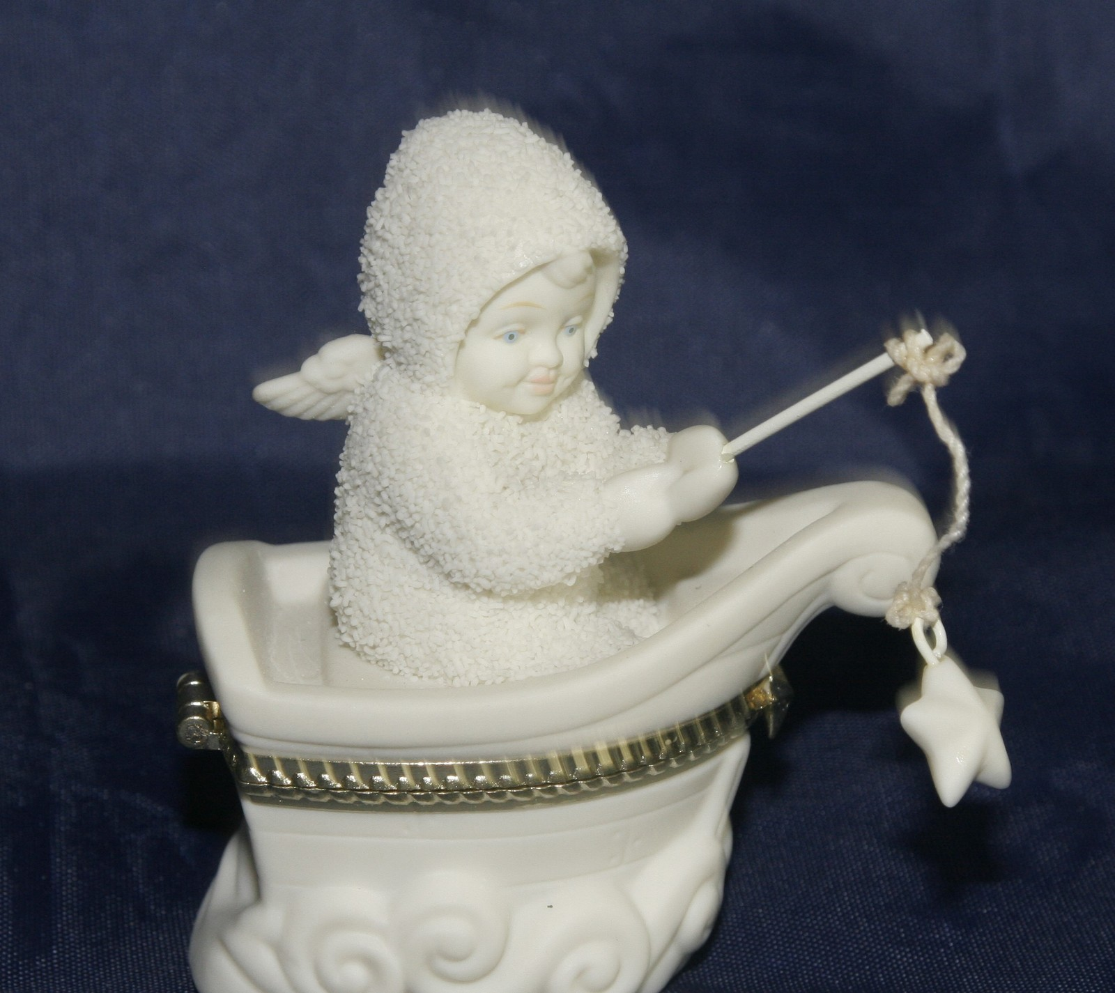"Primary image for Dept 56 Snowbabies ""Rock-A-Bye Baby "" Bisque Porcelain Hinged Trinket Box"