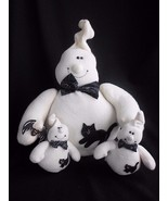 Halloween Ghost set of 3 Bean Bag Primitive Country Stuffed Plush Hand Made - $29.35