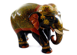 Handmade Wooden Elephant Figurine with Mughal W... - $59.39