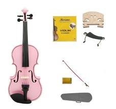 1/10 Size Pink Violin,Case,Pink Bow+Rosin+2 Sets Strings+2 Bridges+Shoulder Rest - $55.00