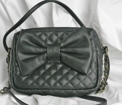 Candie's Black Quilted With Bow Small Shoulder Crossbody Handbag Purse - $14.85