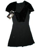 New Womens 4 NWT Italy Prada Dress Black 40 Velvet Silk Acetate Short Sl... - $800.00