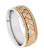 Wedding Band Ring Braided Tri-Color 14k, 18k So... - $519.00