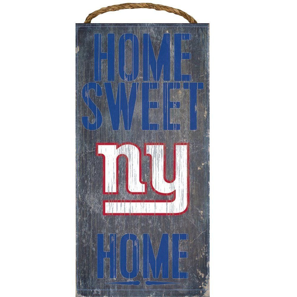 "NEW YORK GIANTS HOME SWEET HOME WOOD SIGN and ROPE 12"" X 6""  NFL MAN CAVE!"