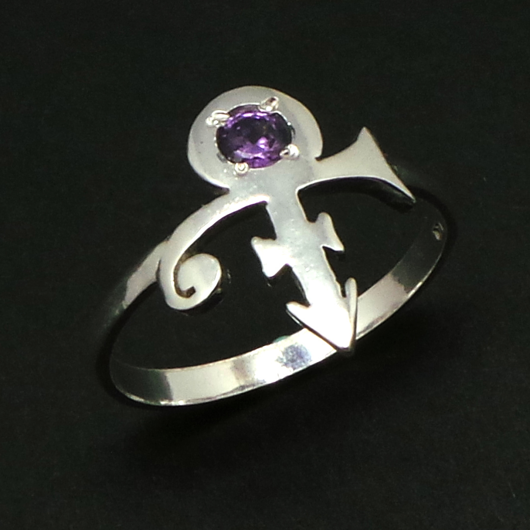 925 Silver Purple Rain Prince Love Symbol Ring - Memorial Ring - US Size 4 - 14 image 3