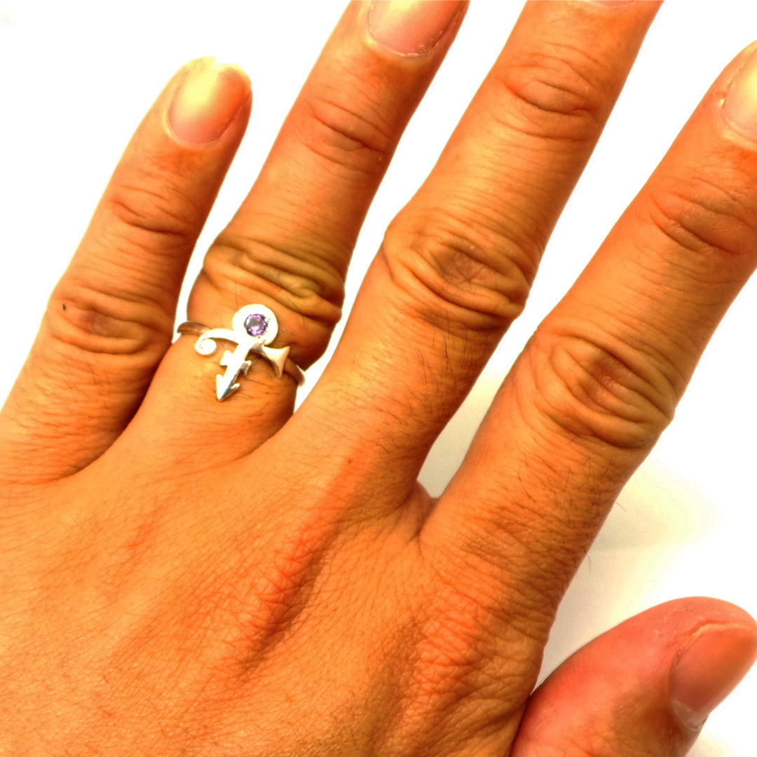 925 Silver Purple Rain Prince Love Symbol Ring - Memorial Ring - US Size 4 - 14 image 5