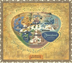 1956 DISNEYLAND PARK MAP 24 X 36 INCH LARGE POSTER mickey mouse, monorai... - $18.99