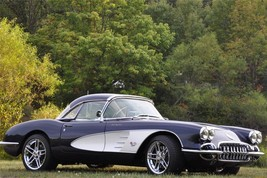 1958 CHEVY CORVETTE POSTER BLUE AND WHITE 24  X  36 INCH man cave decor,... - $18.99