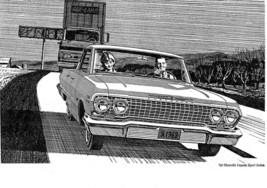 1963 Chevy Impala Poster Drawing 24 X 36 Inch Man Cave Decor, Wall Art, Garage - $18.99