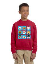 Kids Crewneck Christmas Icons Cute Holiday Symbols Top - $17.94