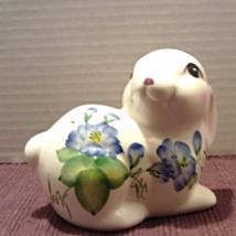 Vintage Hand Painted Blue/Purple Flower White Rabbit Figurine - $13.02