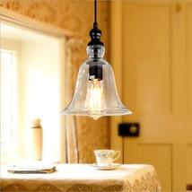 Retro Barn Clear Glass Pendant Vintage Bell Shape Ceiling Lamp Hanging Light - $56.90