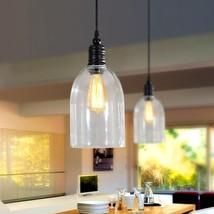 Large Retro Barn Pendant Loft E27 Light Clear Glass Hanging Ceiling Lamp - $48.19