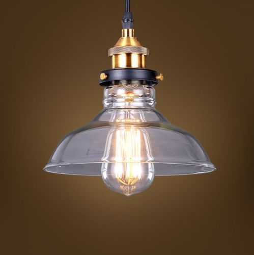 Primary image for 20th C. Factory Filament Clear Glass Barn Pendant Restoration Light Ceiling Lamp