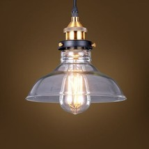 20th C. Factory Filament Clear Glass Barn Pendant Restoration Light Ceil... - $56.84