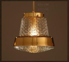 Vintage Nice Pattern Glass Ceiling Lamp E27 Light Loft Golden Pendant Chandelier - $131.36