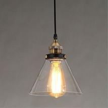 Industrial Funnel Glass Pendant Light Ceiling Lamp Retro Edison Bulb Chandelier - $62.89