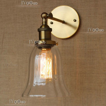 Vintage Clear Glass & Cast Iron E27 Light Wall Lamp Trumpet Barn Sconce - $78.98