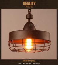 Antique Rust Barn Ceiling Lamp E27 Light Hanging Fixture Cage Pendant Chandelier - $93.93