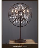 Vintage E14 Light Antiqued Rustic Iron Foucault's Orb Crystal Table / De... - $480.20