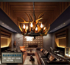 Restoration Resin Ceiling Lamp E14 Light Fixture Aspen Antler Chandelier... - $488.04