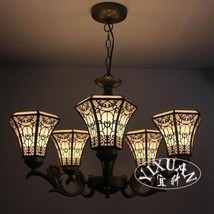 Tiffany Style Stained Glass Art Mission Light Chandelier Ceiling Lamp Li... - £210.53 GBP