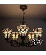 Tiffany Style Stained Glass Art Mission Light Chandelier Ceiling Lamp Li... - £222.21 GBP