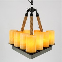 Vintage Triangle Candle Pillar Ceiling Lamp 9 Bulb E14 Light Rope Chandelier - $240.72