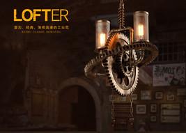 Machine Age Steampunk Pipe Gear Ceiling Lamp Double E27 Light Pendant Chandelier - $442.94
