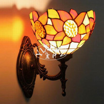 Tiffany Style Indoors Light Sunflower Stained Glass Wall Sconce Single Lamp - £40.59 GBP