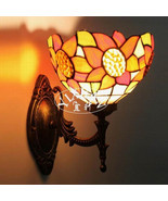 Tiffany Style Indoors Light Sunflower Stained Glass Wall Sconce Single Lamp - £42.84 GBP