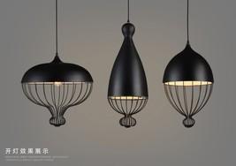 Vintage Matte Black Barn Ceiling Lamp Hanging E27 Light RH Cage Pendant - $152.74+