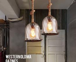 Novelty Glass & Rope Pendant E27 Light Ceiling Lamp Barn Lighting Fixture Indoor - $97.95