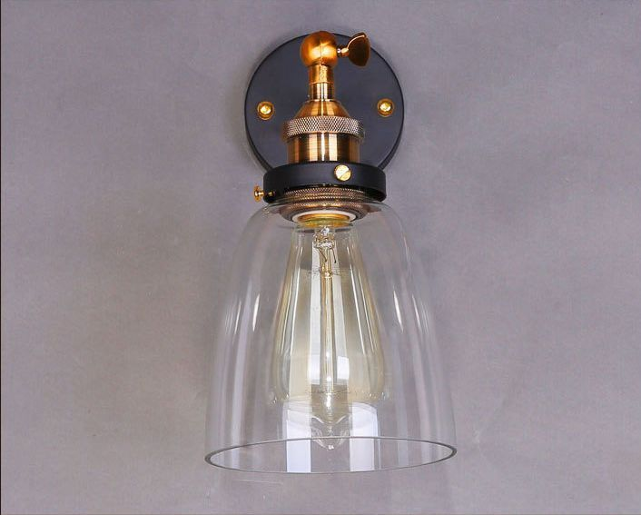 20th C. Factory Filament Glass Cloche Sconce Restoration Wall Lamp Indoors Light - $58.99