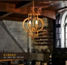 Vintage Industrial Era Golden Ceiling Lamp E14 Light Barn Lantern Chandelier - $231.23