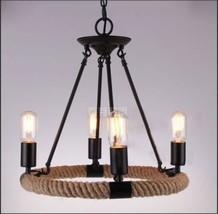 "Camino 4 Bulb Rope Round Semi- Chandelier 16.5"" - Restoration Light Ceiling Lamp - $192.48"